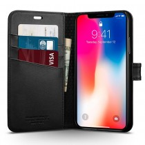 Spigen Wallet S, pouzdro pro iPhone X - černé