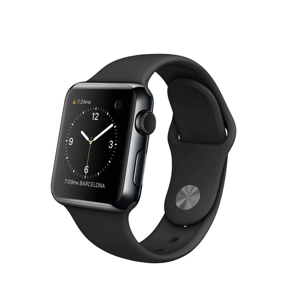 Apple Watch - 38 mm-es, rozsdamentes acél asztrofekete tok fekete sportszíjjal (első generáció)