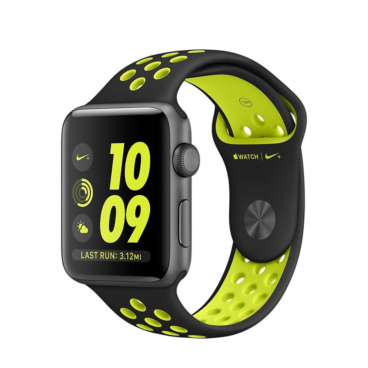 Apple Watch Nike+ - 38-mm-es, asztroszürke alumíniumtok fekete–neonzöld Nike sportszíjjal
