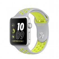 Apple Watch Nike+ - 38-mm-es, ezüstszínű alumíniumtok matt ezüst–neonzöld Nike sportszíjjal