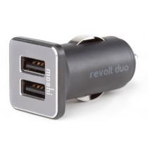 Moshi - Revolt Duo - Dual Port USB autós töltő Lightning kábellel - Fekete