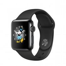 Apple Watch Series 2 - 38 mm-es, asztrofekete rozsdamentesacél tok fekete sportszíjjal