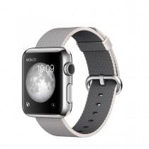 Apple Watch - 38 mm-es, rozsdamentes acél tok gyöngyszürke szőtt műanyag szíjjal