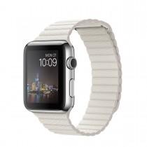 Apple Watch - 42 mm-es, rozsdamentes acél tok fehér bőrszíjjal