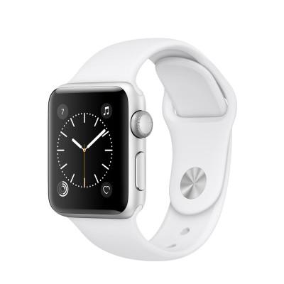Apple Watch Series 2 - 38mm puzdro zo strieborného hliníka - biely športový remienok