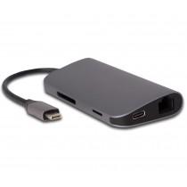 EPICO Hub - USB-C dokovacia stanica s 8 portami, čierna