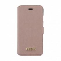 Guess Saffiano otvárací obal pre iPhone 7 - ružovo zlatý
