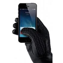 MUJJO - Touchscreen kožené rukavice, veľkosť 8 - čierne