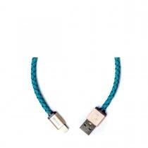 PlusUs LifeStar nabíjací a synchronizačný kábel (25cm) USB - Lightning - tyrkysový