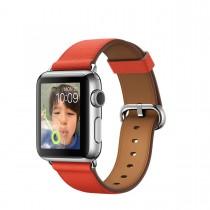 Apple Watch - 38mm puzdro z nerezovej ocele s červeným remienkom a klasickou prackou