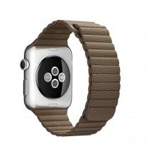 Apple - 42mm svetlo hnedý kožený remienok - M